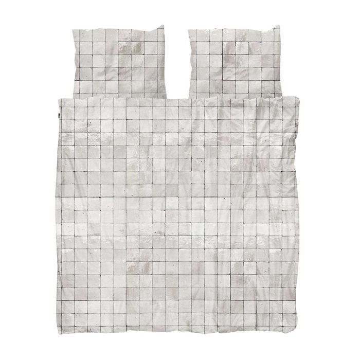 Комплект постельного белья Плитка жемчужно-белого цвета 200х220