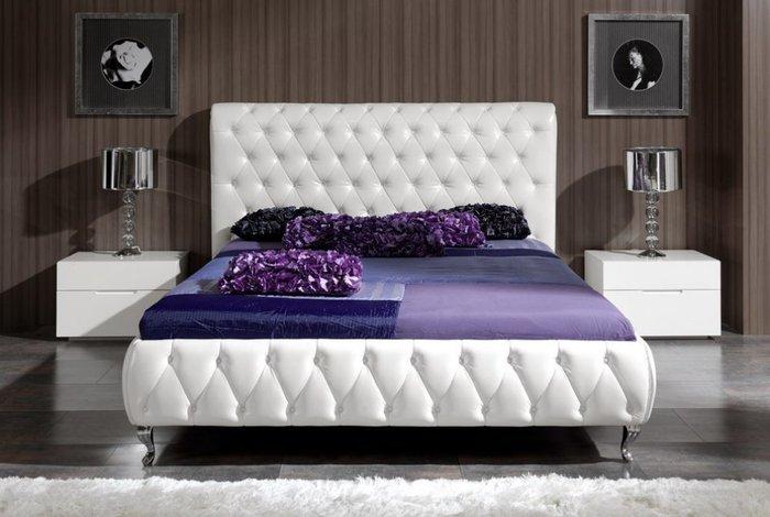Двухспальная кровать Adriana белого цвета 180х200