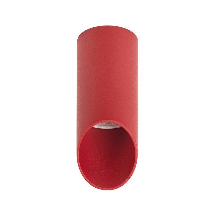 Точечный накладной светильник из металла красного цвета