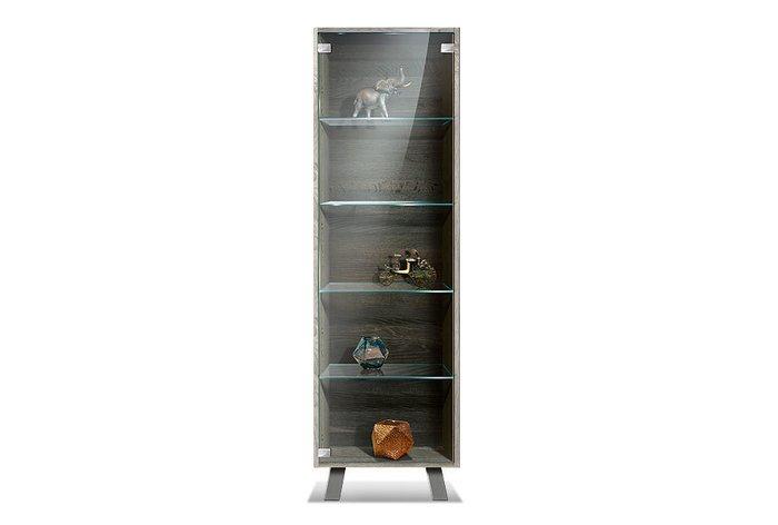 Шкаф с витриной Dillinger серого цвета (левый)