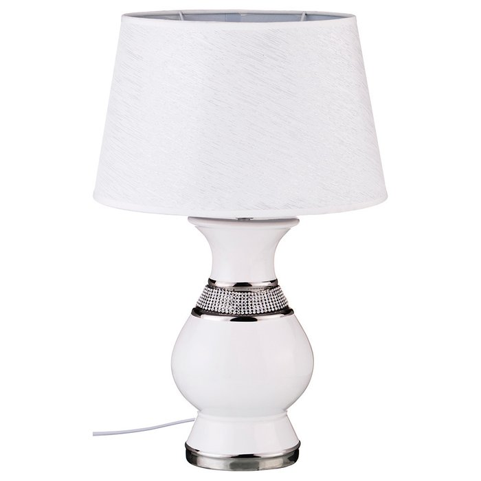 Настольная лампа с абажуром белого цвета