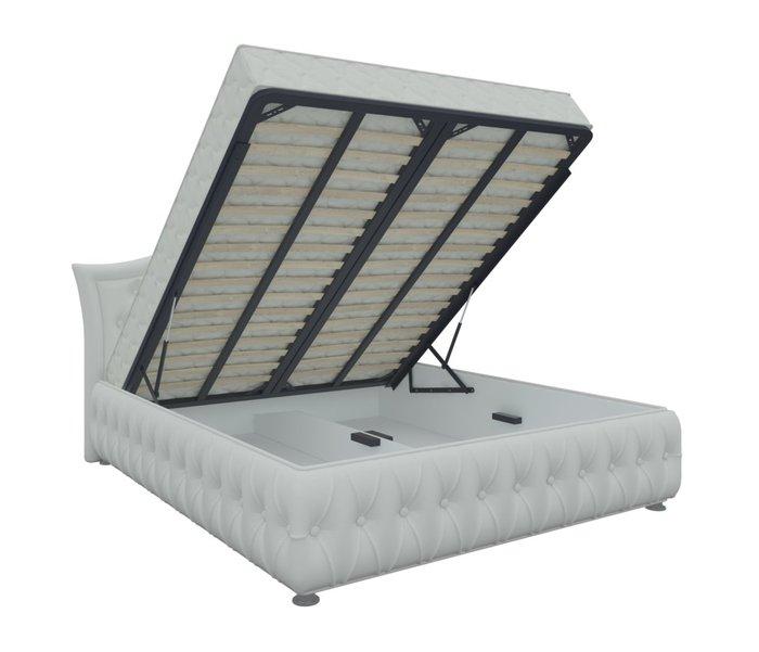 Кровать Герда 180х200 белого цвета с подъемным механизмом (экокожа)