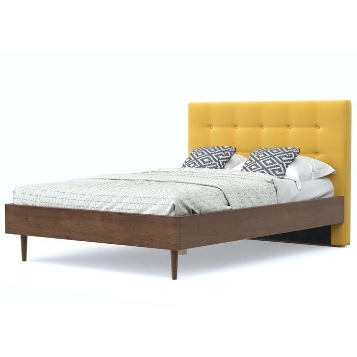 Кровать Альмена 140x200 коричнево-желтого цвета