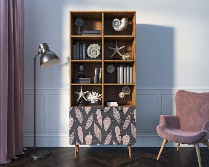 Книжный шкаф Berber бежево-фиолетового цвета