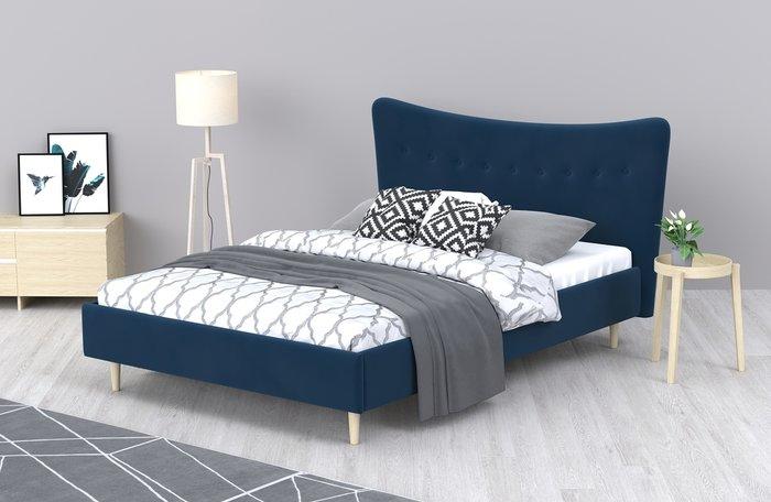 Кровать Финна 160x200 синего цвета