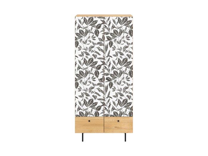 Шкаф Frida с черно-белым фасадом на металлических ножках