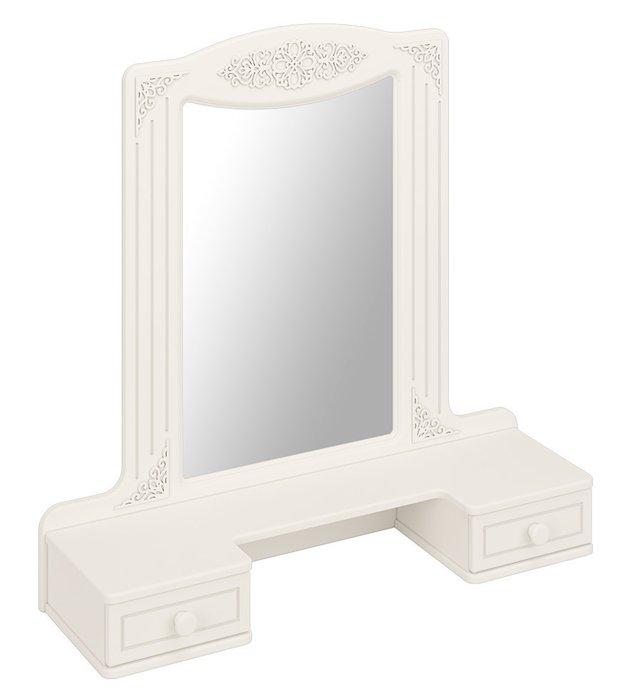 Настольное зеркало с полкой Ассоль белого цвета