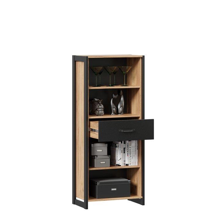 Шкаф-витрина Техно коричнево-черного цвета