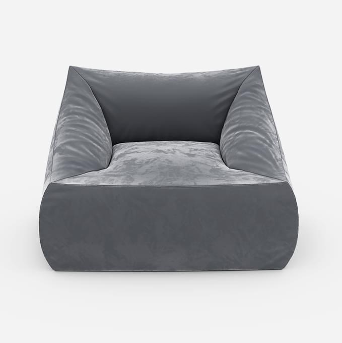 Кресло с подлокотниками Angle Velur Grey серого цвета