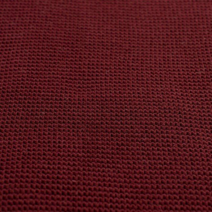 Плед вязаный из хлопка бордового цвета 130х180