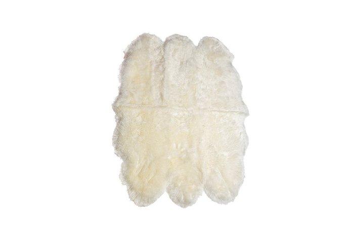 Белая овечья шкура со швами 110х155