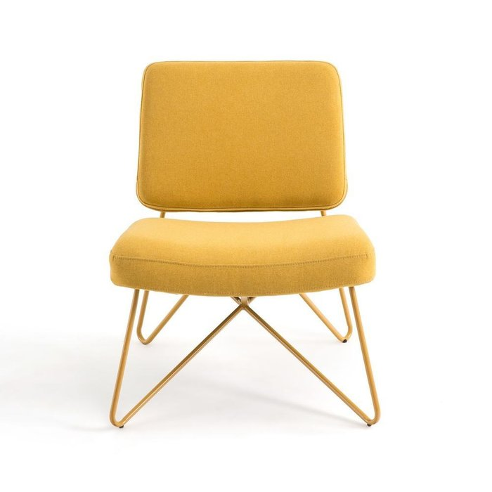 Кресло в винтажном стиле Koper желто-соломенного цвета