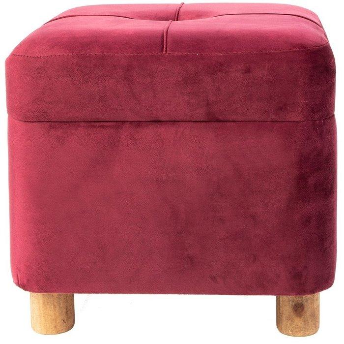 Пуф с отсеком для хранения красного цвета
