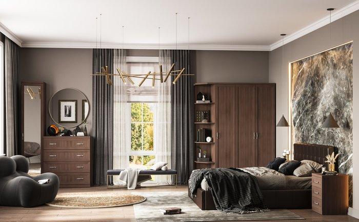 Кровать Инуа 160х200 темно-коричневого цвета с подъемным механизмом