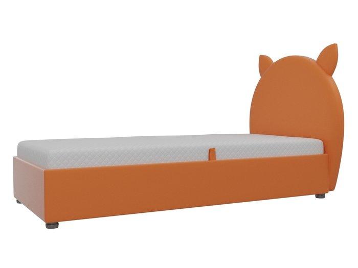 Детская кровать Бриони 82х188 оранжевого цвета с подъемным механизмом (экокожа)