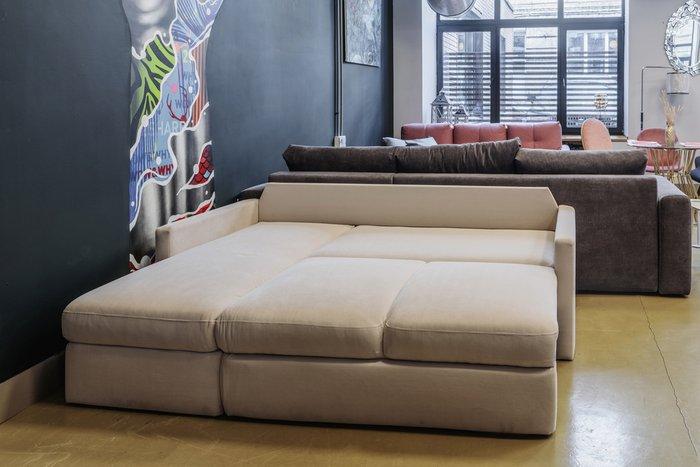 Угловой диван-кровать Винс светло-серого цвета