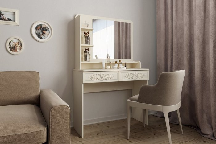 Туалетный столик Ассоль Лайт L бежевого цвета с зеркалом