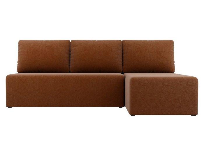 Угловой диван-кровать Поло коричневого цвета