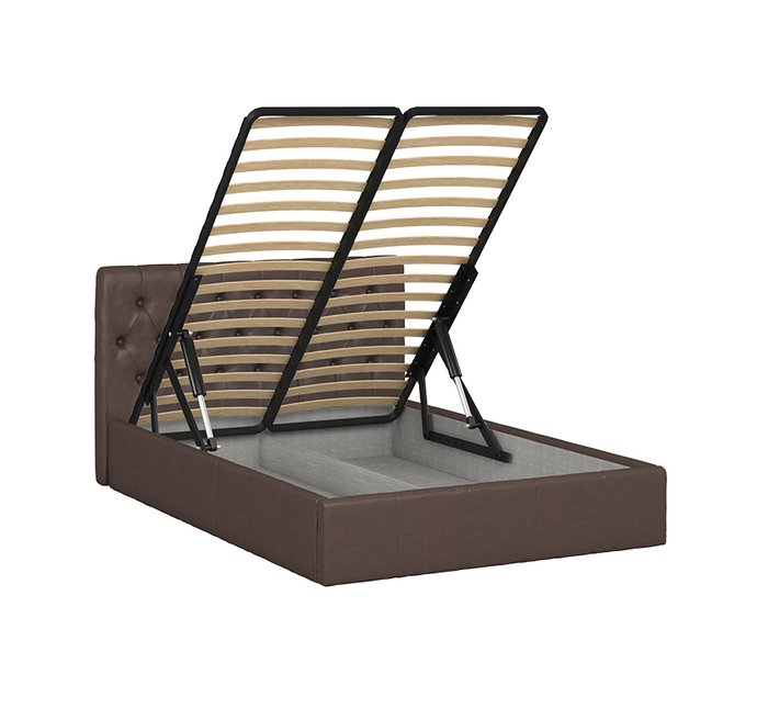 Кровать Инуа 140х200 темнокоричневого цвета с подъемным механизмом