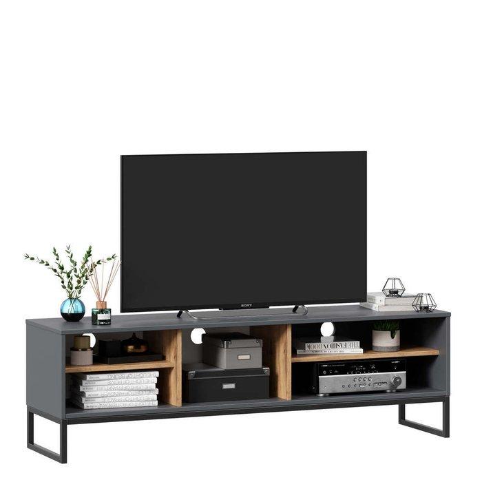 Тумба под ТВ Лофт серо-коричневого цвета
