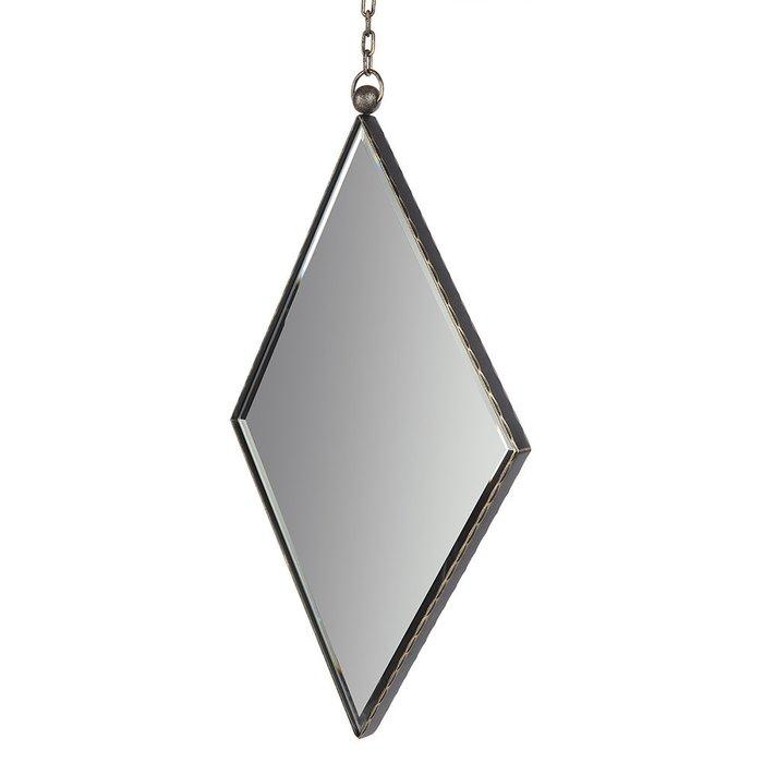 Зеркало настенное Ромб II черно-золотого цвета