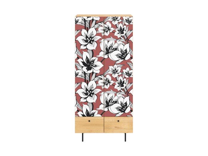 Шкаф Frida с цветочным орнаментом на металлических ножках