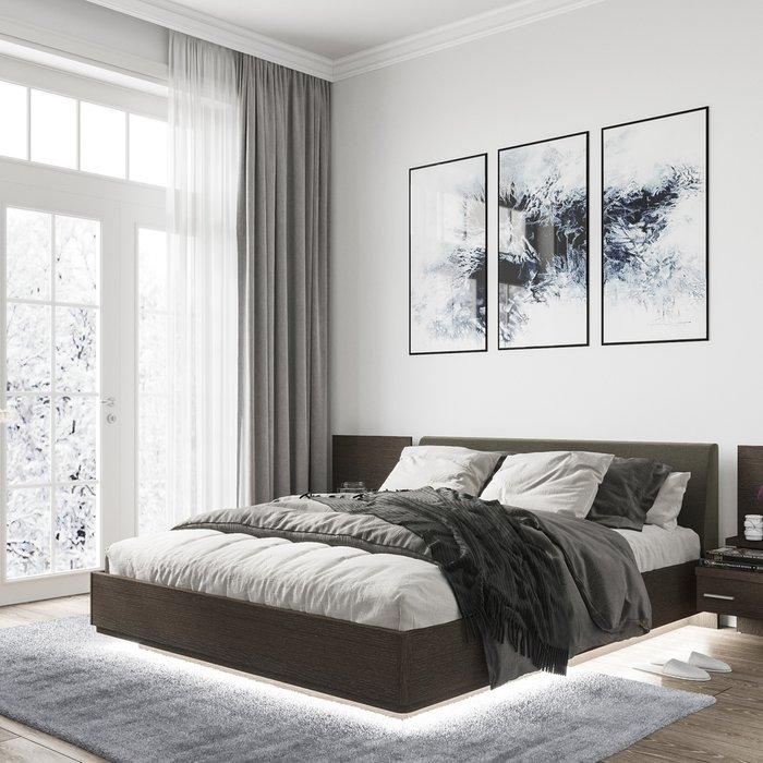 Кровать Элеонора 180х200 с изголовьем серого цвета и подъемным механизмом