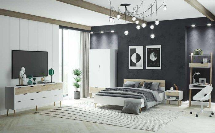 Кровать Oslo 160х200 с изголовьем цвета дуб