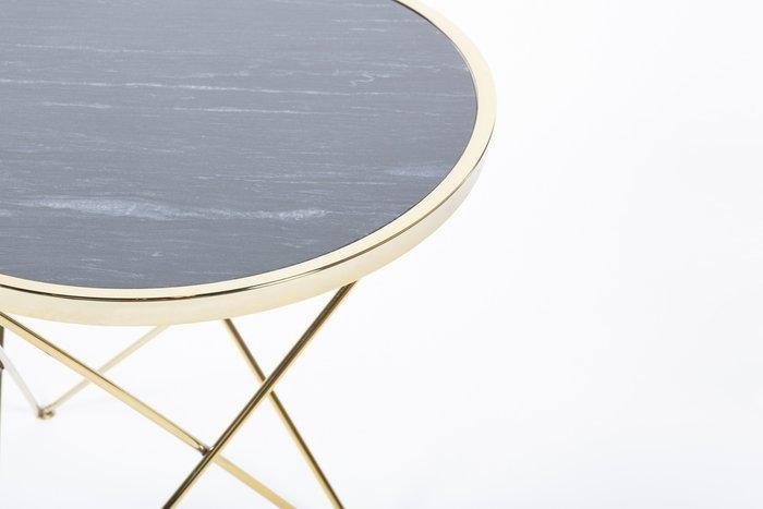 Приставной столик Zarina с основанием золотого цвета