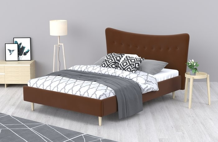 Кровать Финна 140x200 темно-коричневого цвета