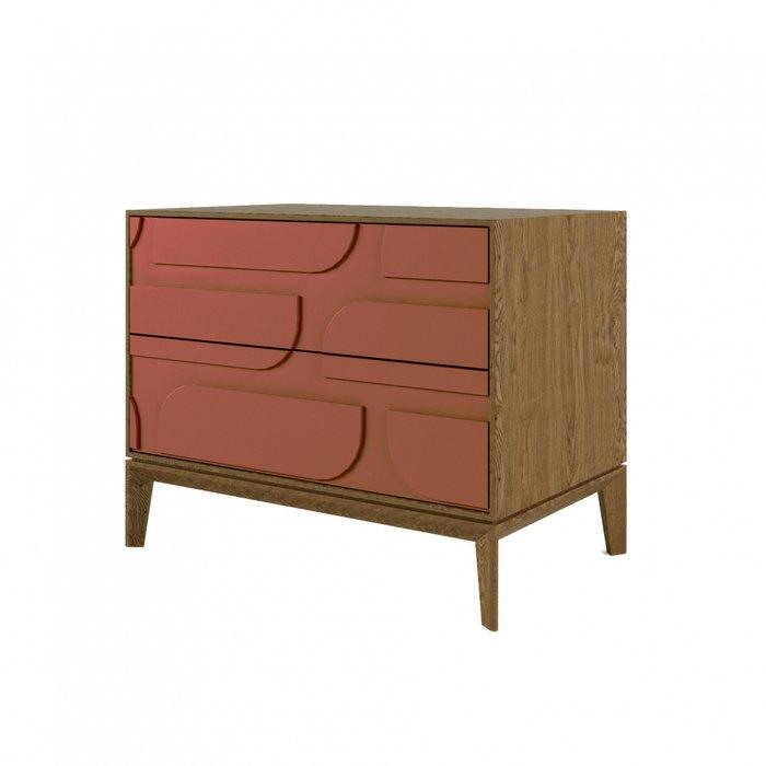 Тумба прикроватная The One с двумя ящиками Ellipse оранжево-коричневого цвета