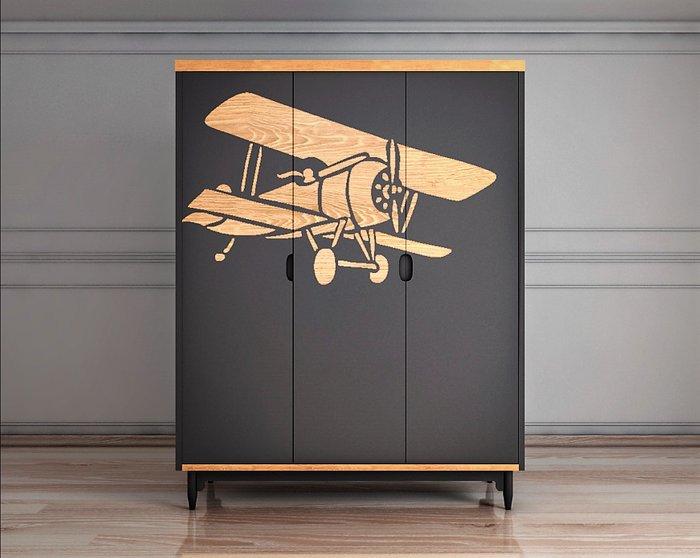 Шкаф трехстворчатый с самолетом Travel темно-серого цвета