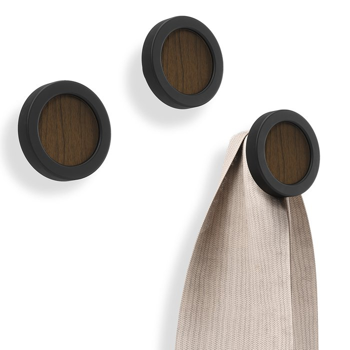 Вешалки-крючки Hub черно-коричневого цвета