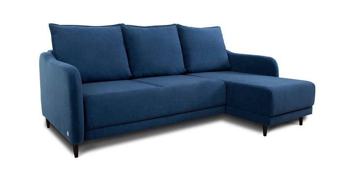 Угловой диван-кровать Бьёрг синего цвета