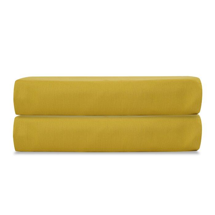 Простыня на резинке Essential из сатина горчичного цвета 160х200
