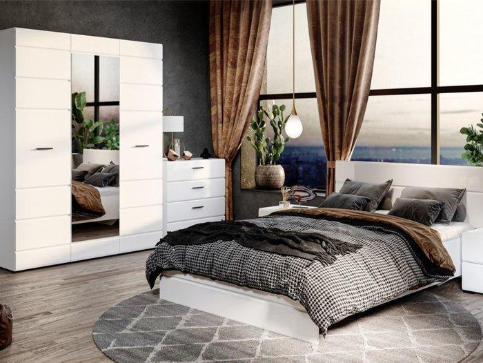 Кровать Йорк 160х200 белого цвета с подъемным механизмом