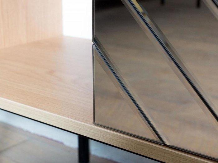 Шкаф двухдверный Boho с зеркальным фасадом серого цвета