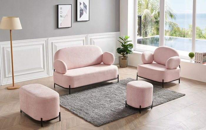 Прямой диван Coco розового цвета