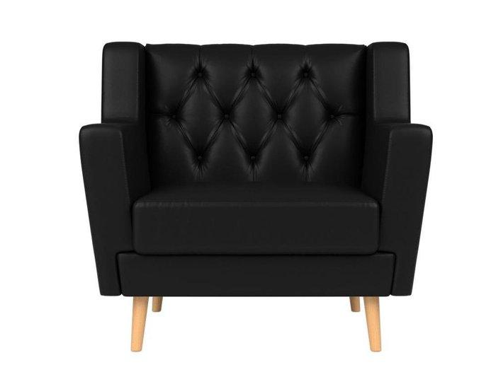 Кресло Брайтон Люкс черного цвета (экокожа)