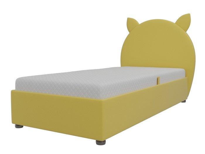 Детская кровать Бриони 82х188 желтого цвета с подъемным механизмом (экокожа)