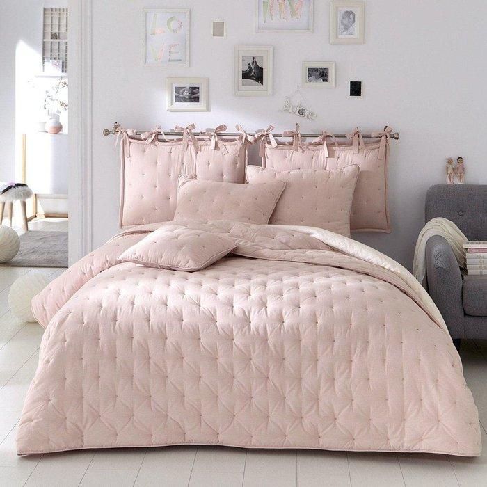 Пышное покрывало Aeri светло-розового цвета с вышивкой 180х230