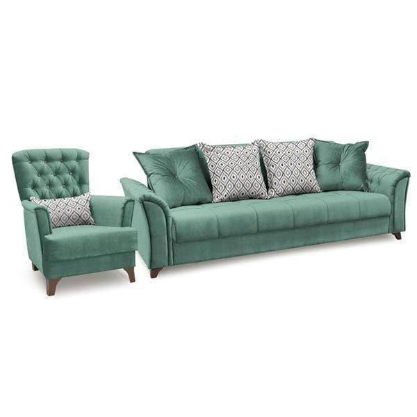 Диван-книжка с креслом Ирис зеленого цвета