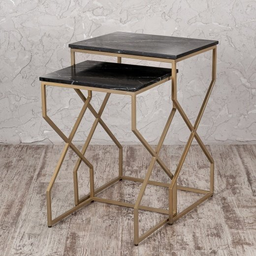 Набор из двух кофейных столиков с мраморной столешницей