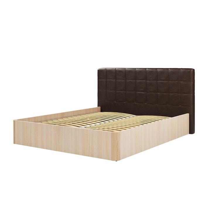 Кровать Магна 180х200 с темно-коричневым изголовьем и подъемным механизмом