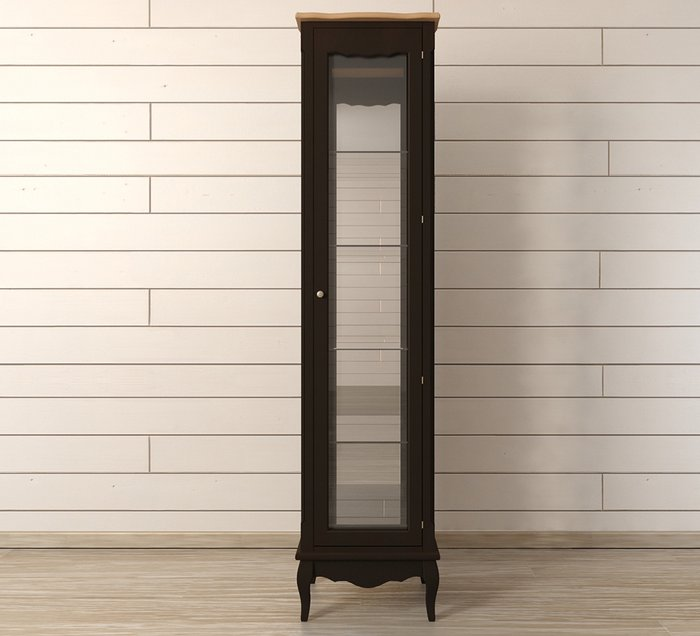 """Шкаф """"Leontina Black"""" для посуды высокий"""