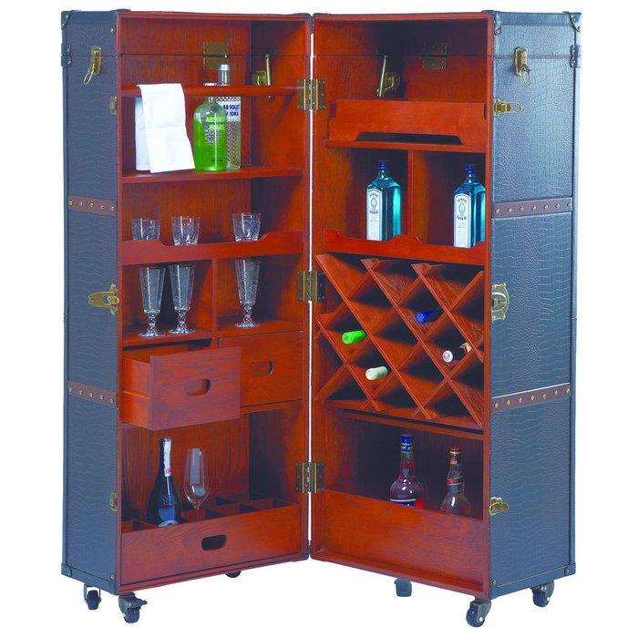 Шкаф-чемодан барный Colonial коричневого цвета