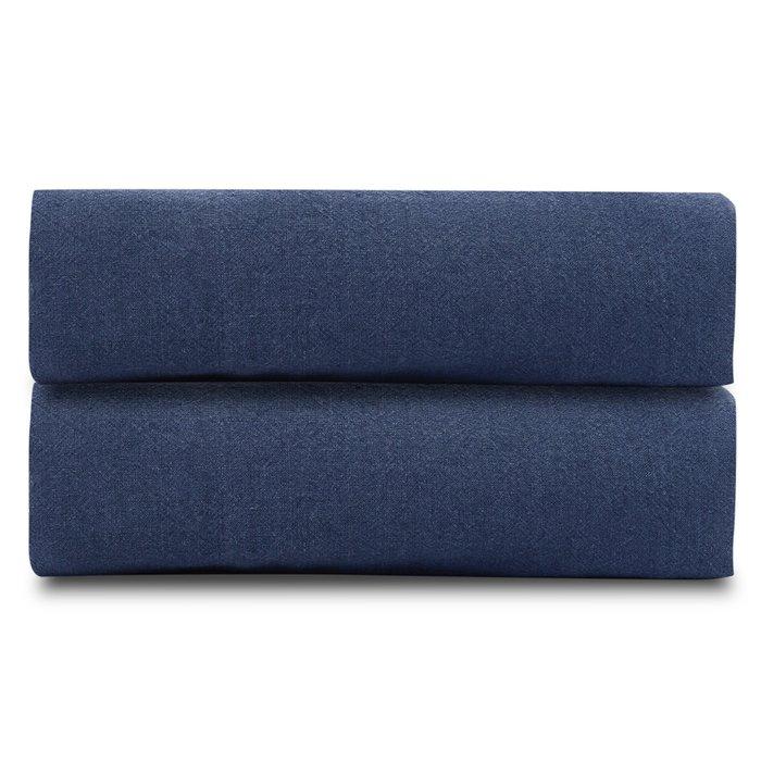 Простыня на резинке из льна темно-синего цвета Essential 160х200