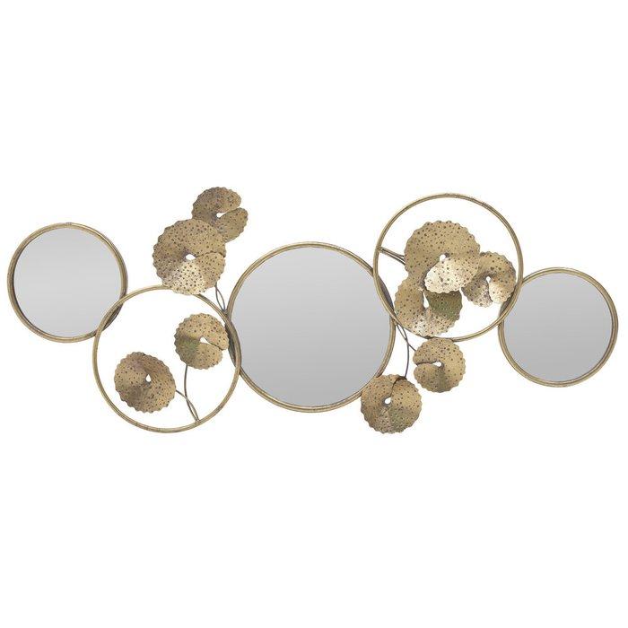 Настенный декор золотого цвета с зеркалами