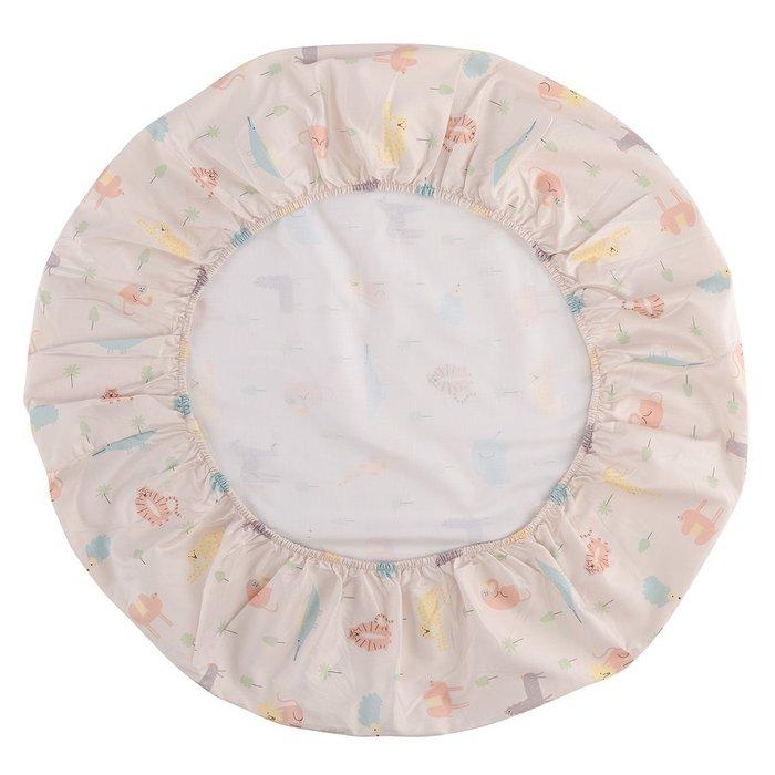 Простыня круглая на резинке из сатина с принтом animalia world 75х75х20
