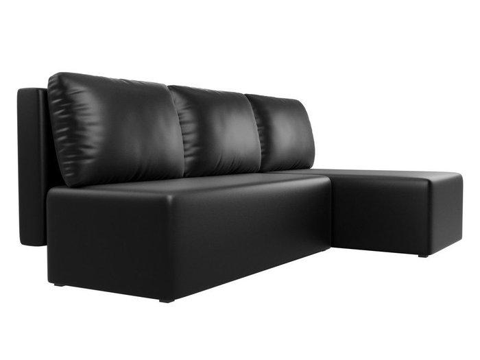 Угловой диван-кровать Поло черного цвета (экокожа)